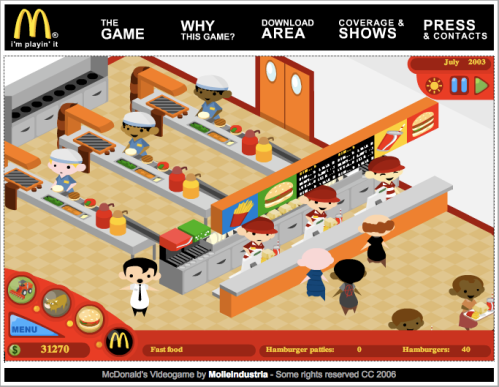 screenshot from McDonald's parody online game